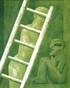 Grünes Interieur mit Leiter