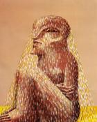 Sitzende Figur mit Schleier